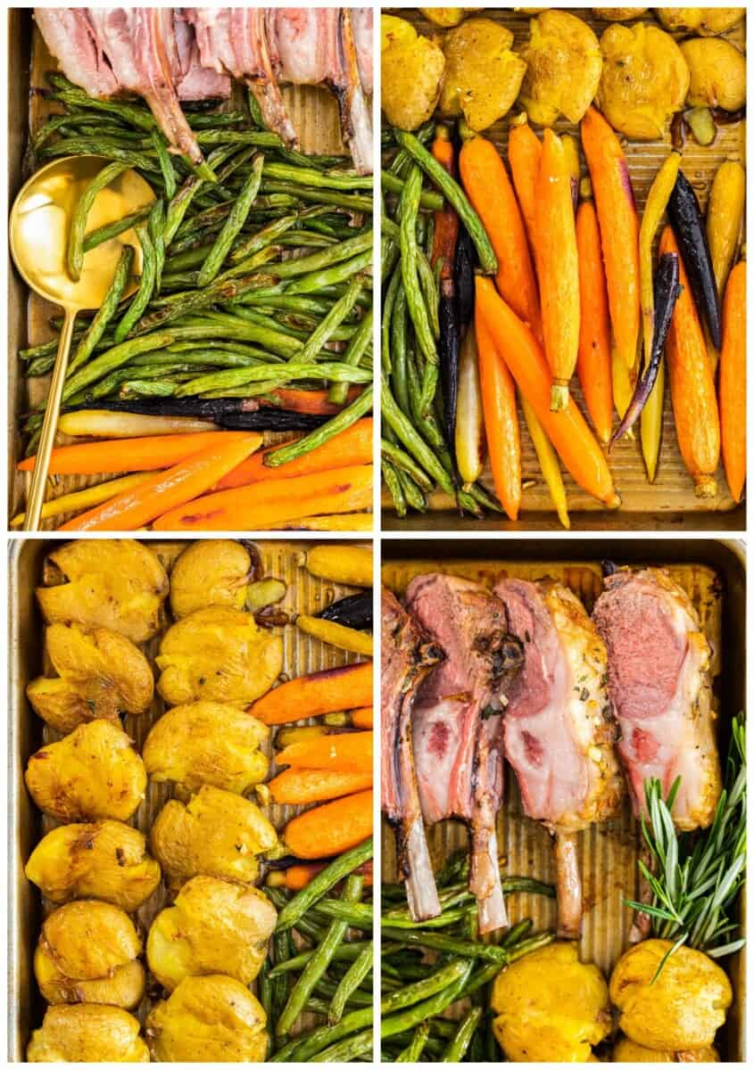 different parts of sheet pan easter dinner with lamb