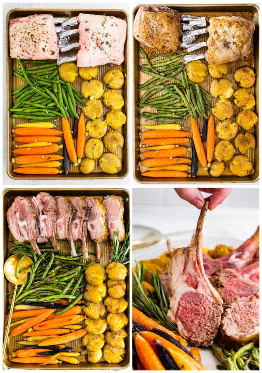 step by step photos for how to make sheet pan easter dinner with lamb