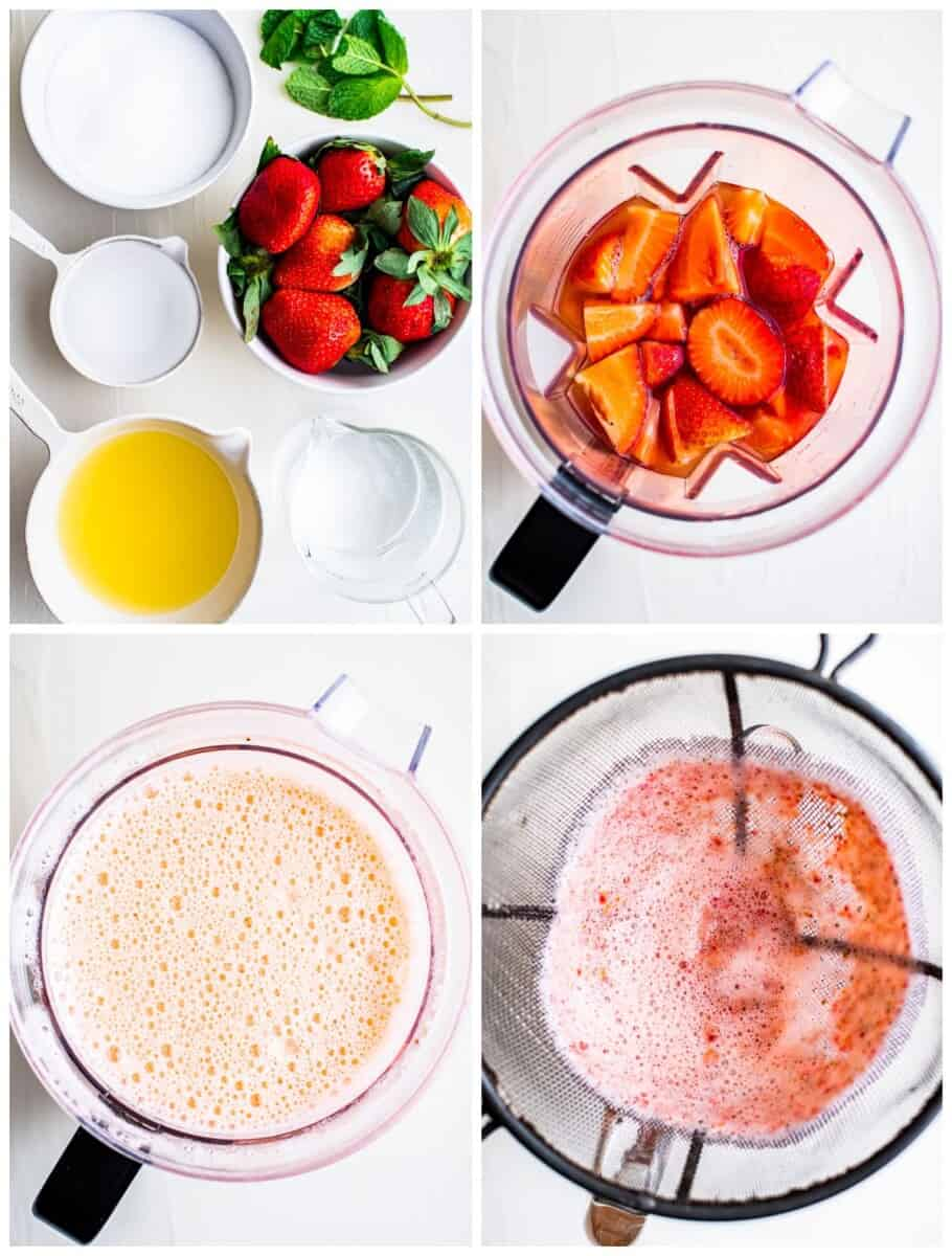 step by step photos for making strawberry lemonade from scratch
