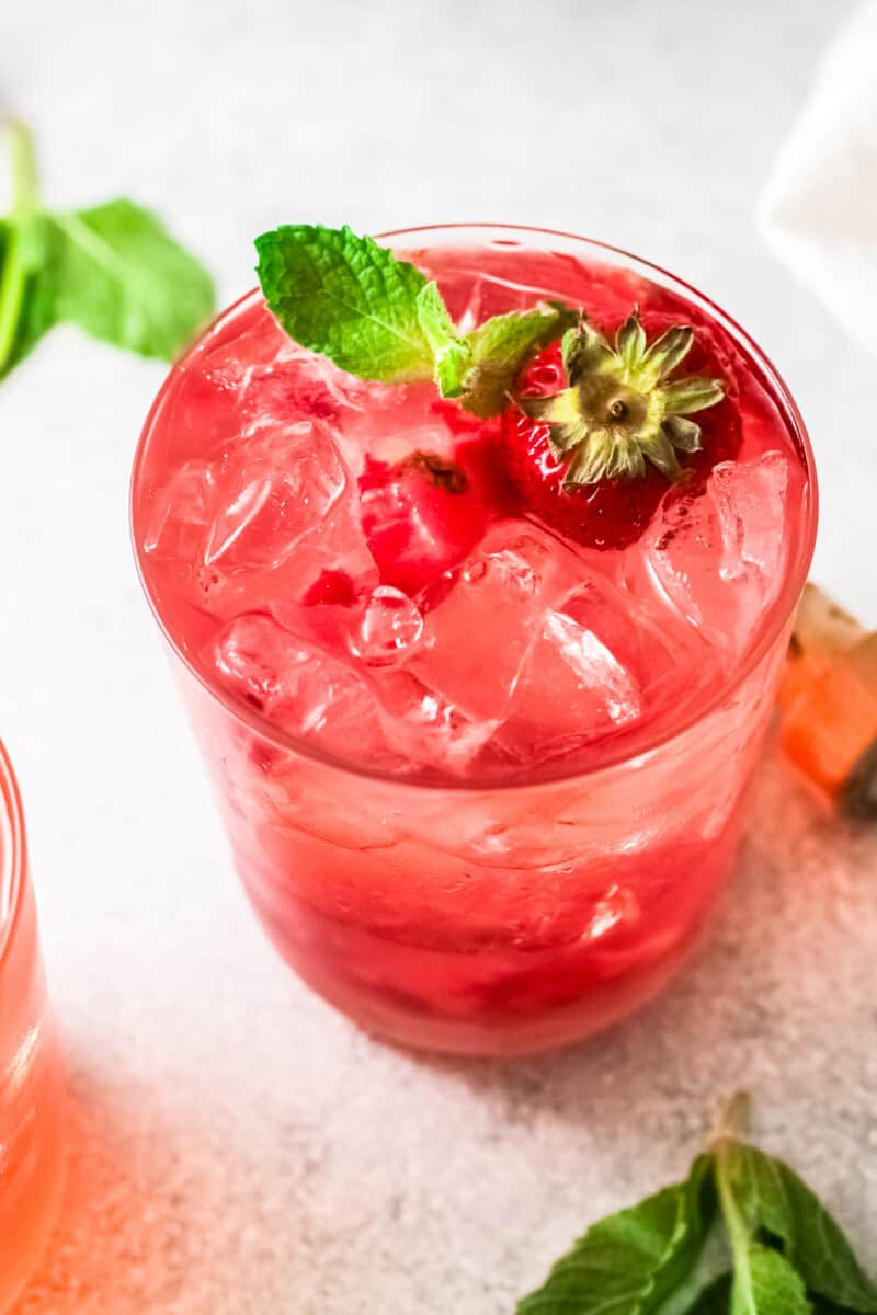 up close strawberry paloma in glass