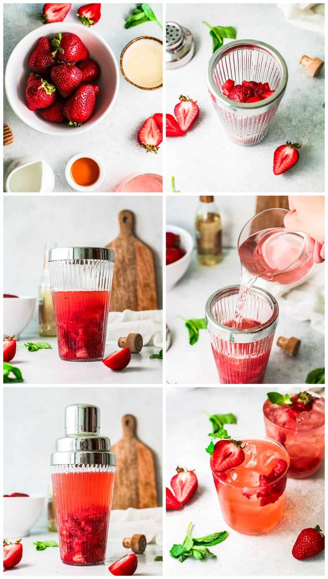 step by step photos for how to make strawberry palomas