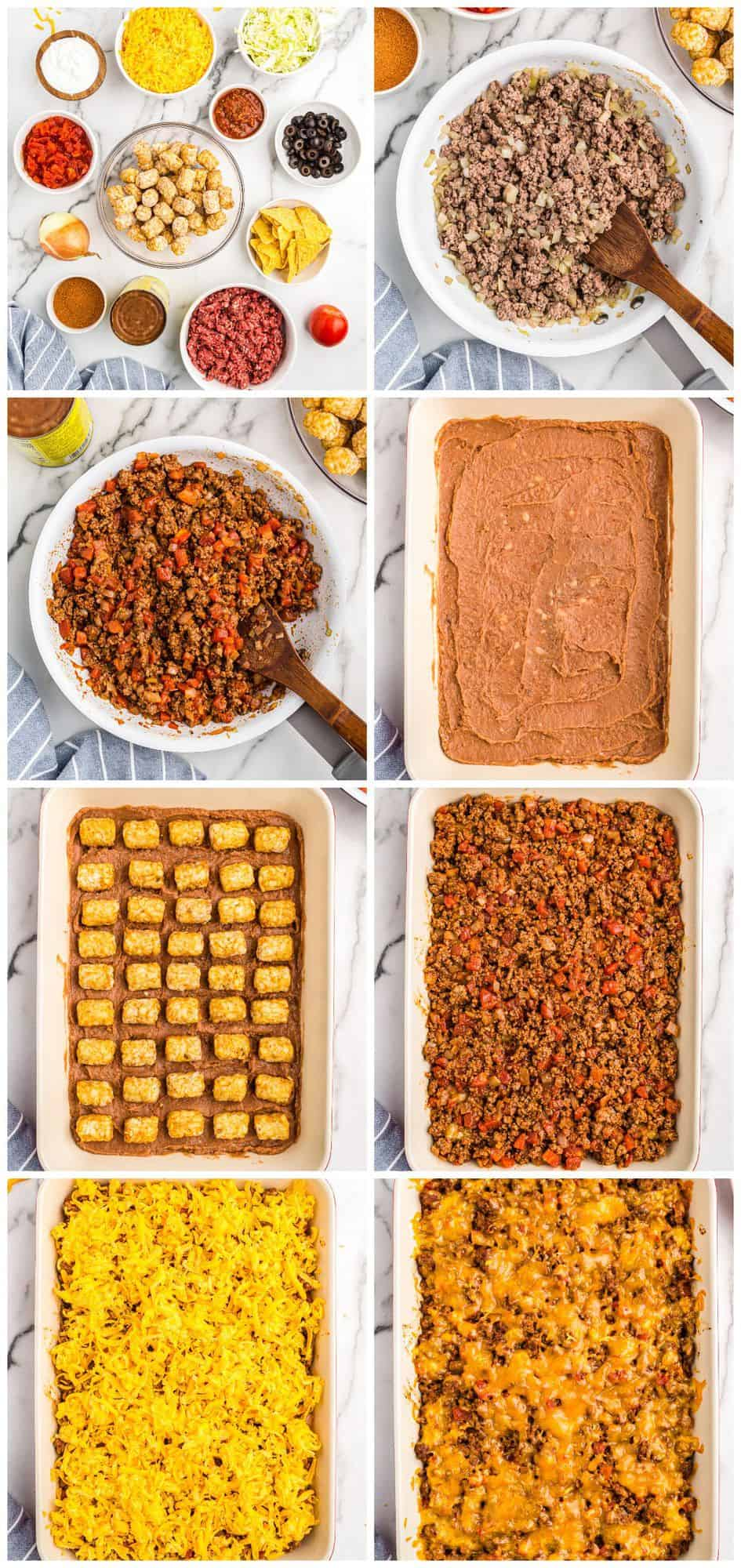 step by step photos for how to make taco casserole