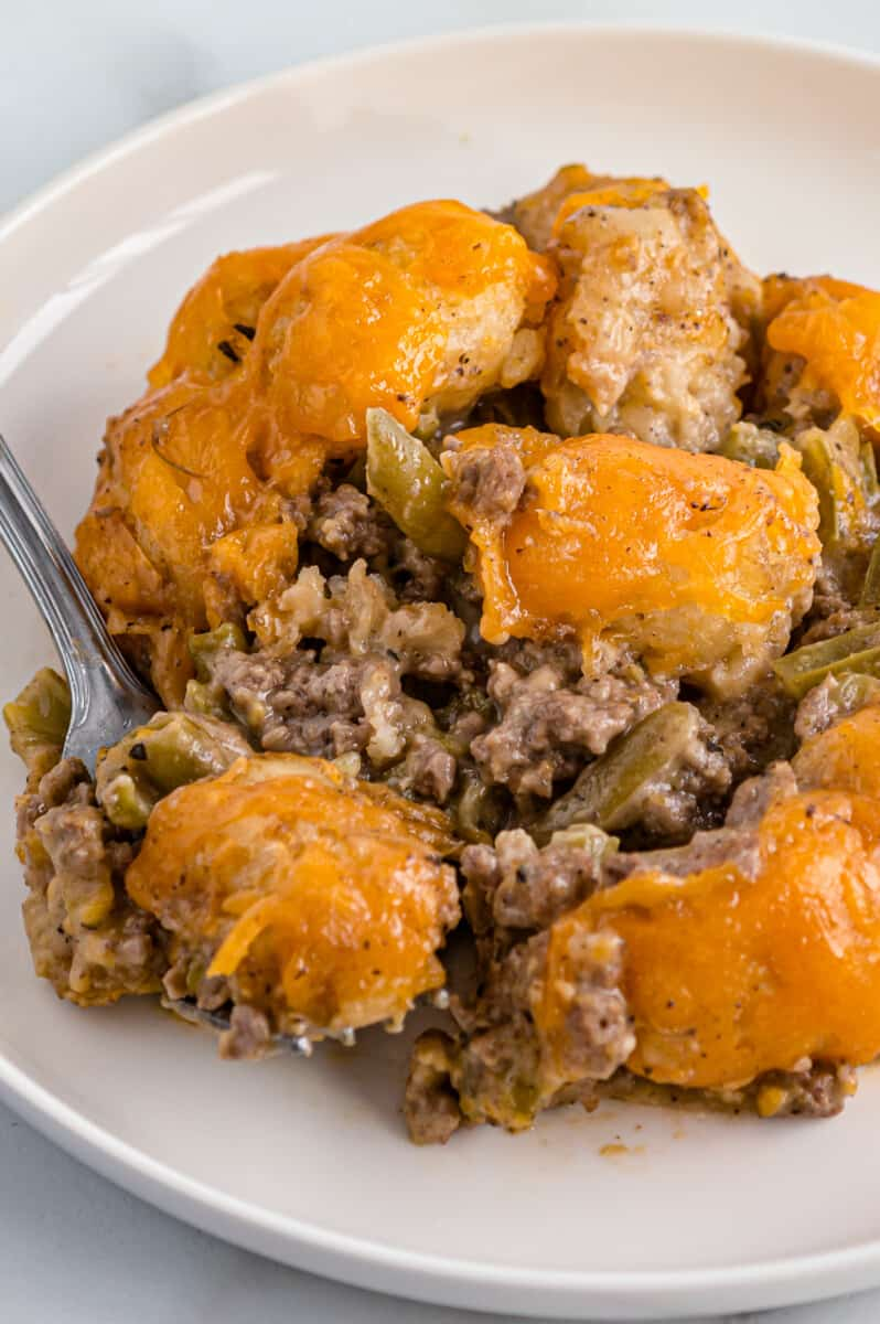 plate with tater tot casserole and fork