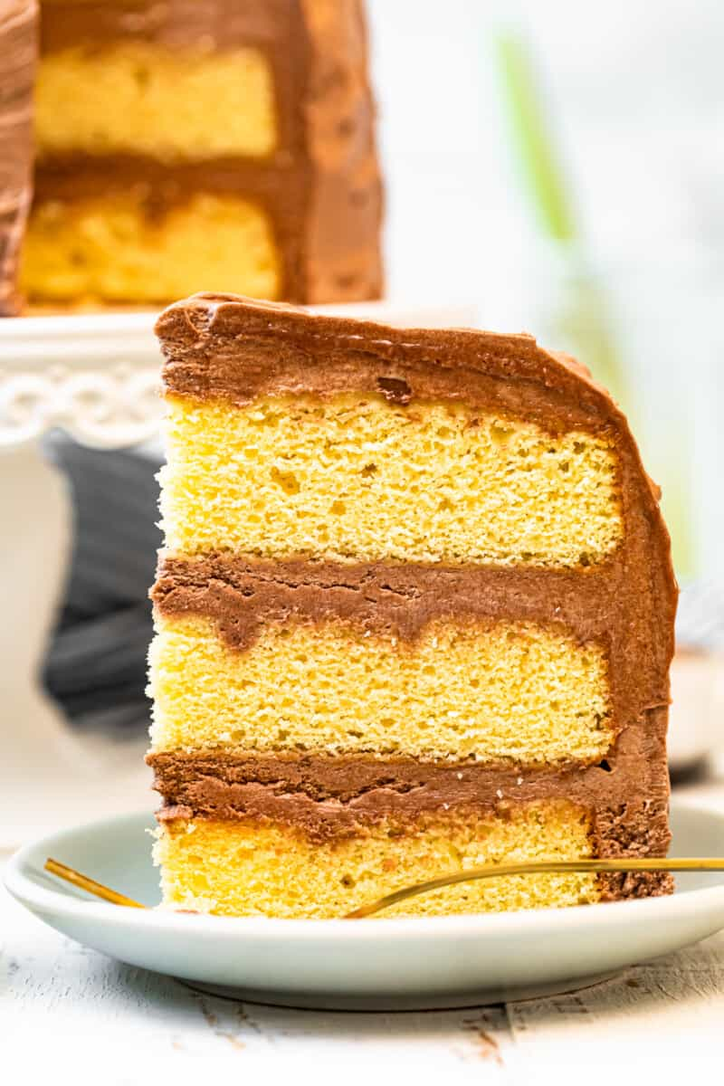 slice of yellow cake with chocolate frosting on plate