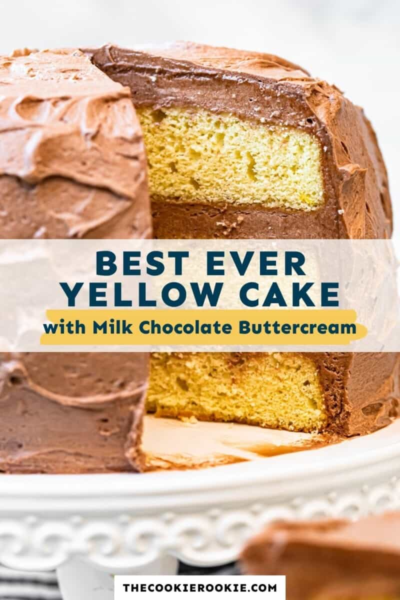 yellow cake with milk chocolate buttercream pinterest collage
