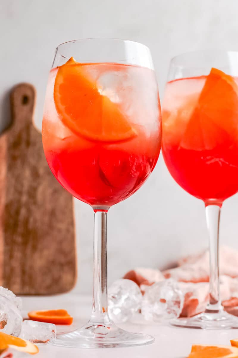 two glasses of aperol spritz