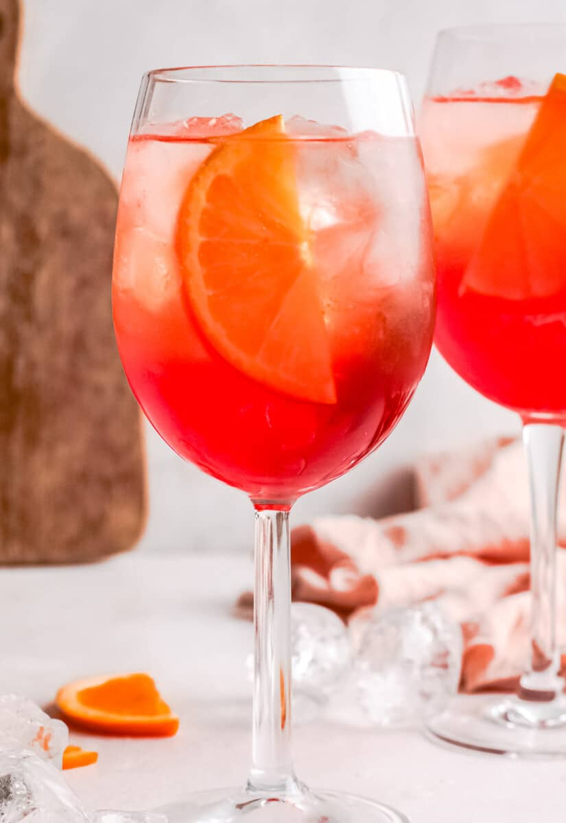 up close two glasses of aperol spritz