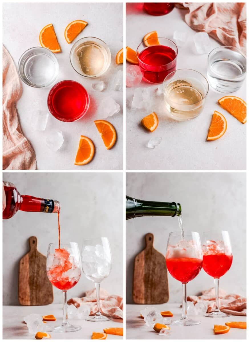 step by step photos for how to make aperol spritz