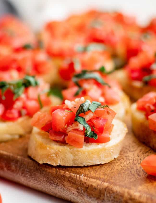 up close bruschetta with tomatoes and basil