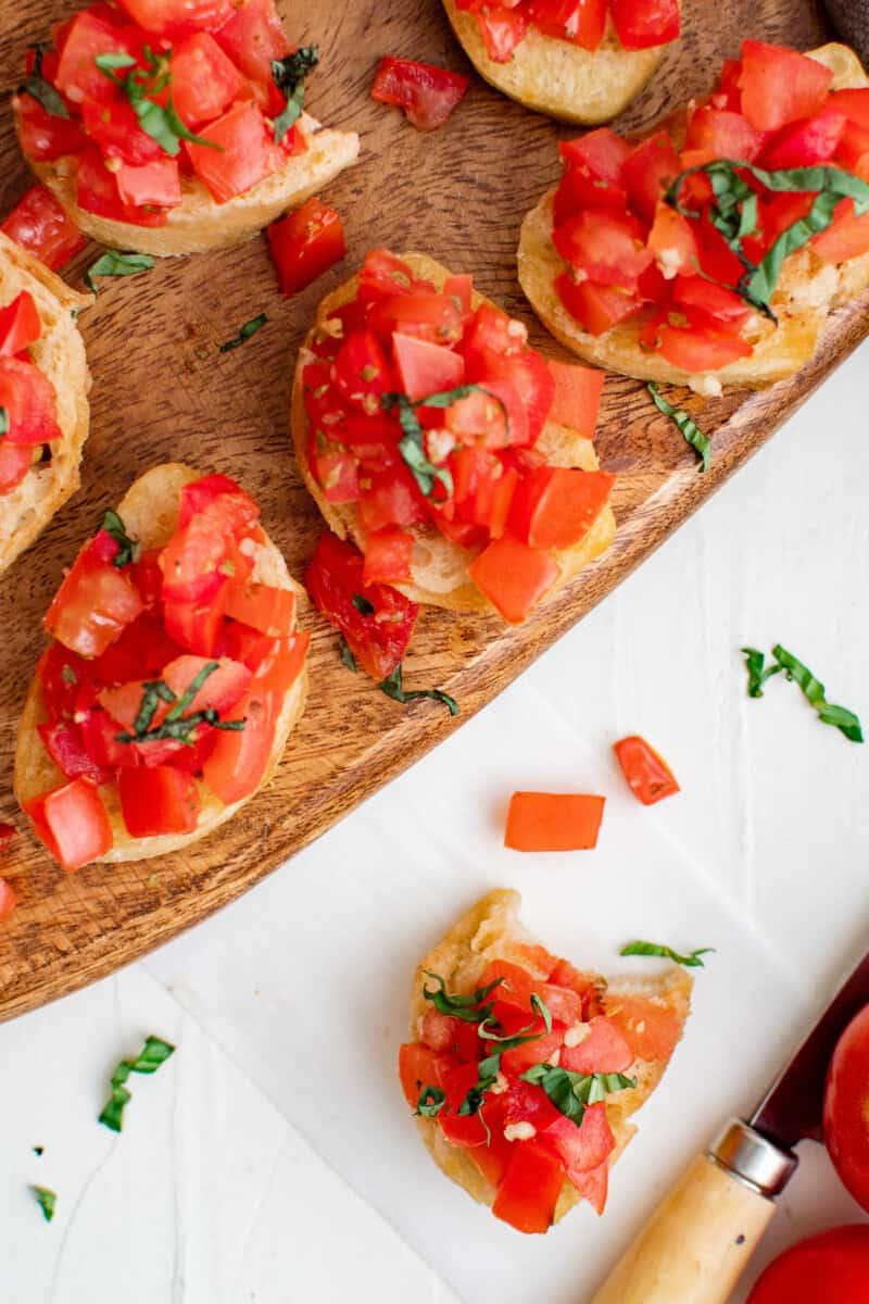 tomato bruschetta on platter