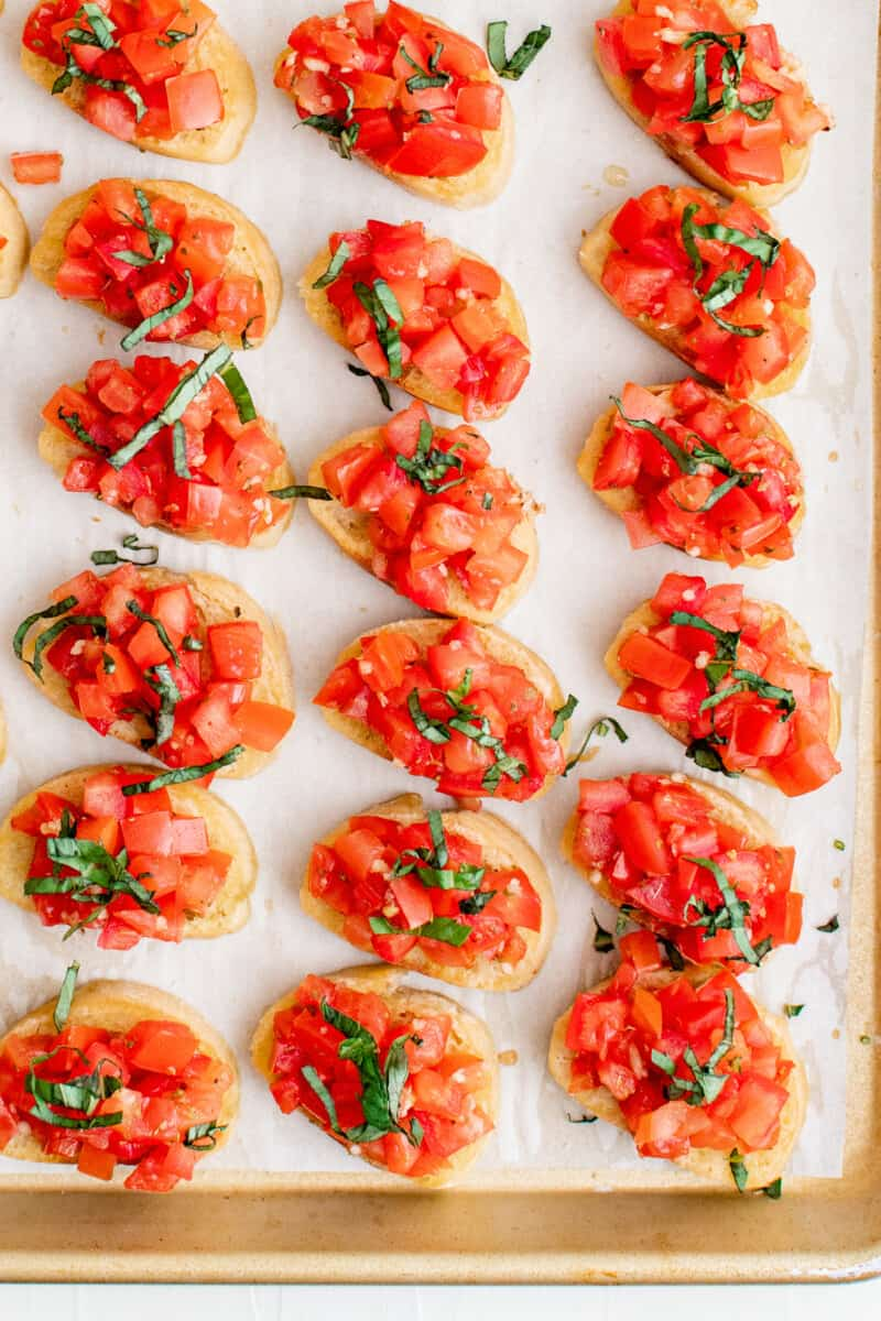 tomato bruschetta on baking sheet