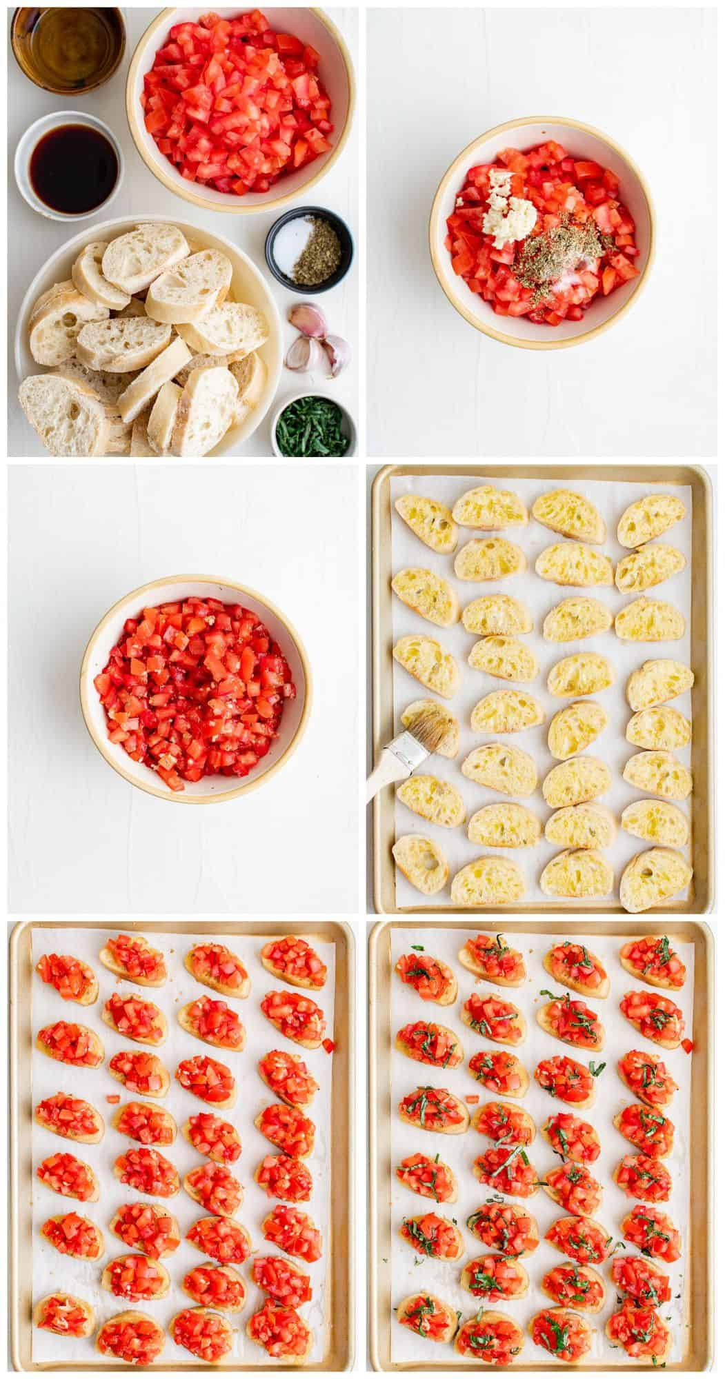 step by step photos for how to make tomato bruschetta