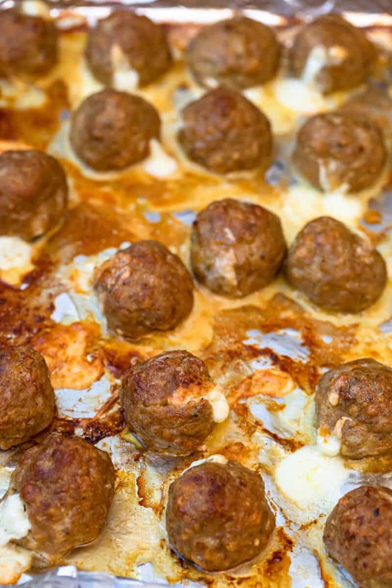 cheesy baked turkey meatballs on sheet pan