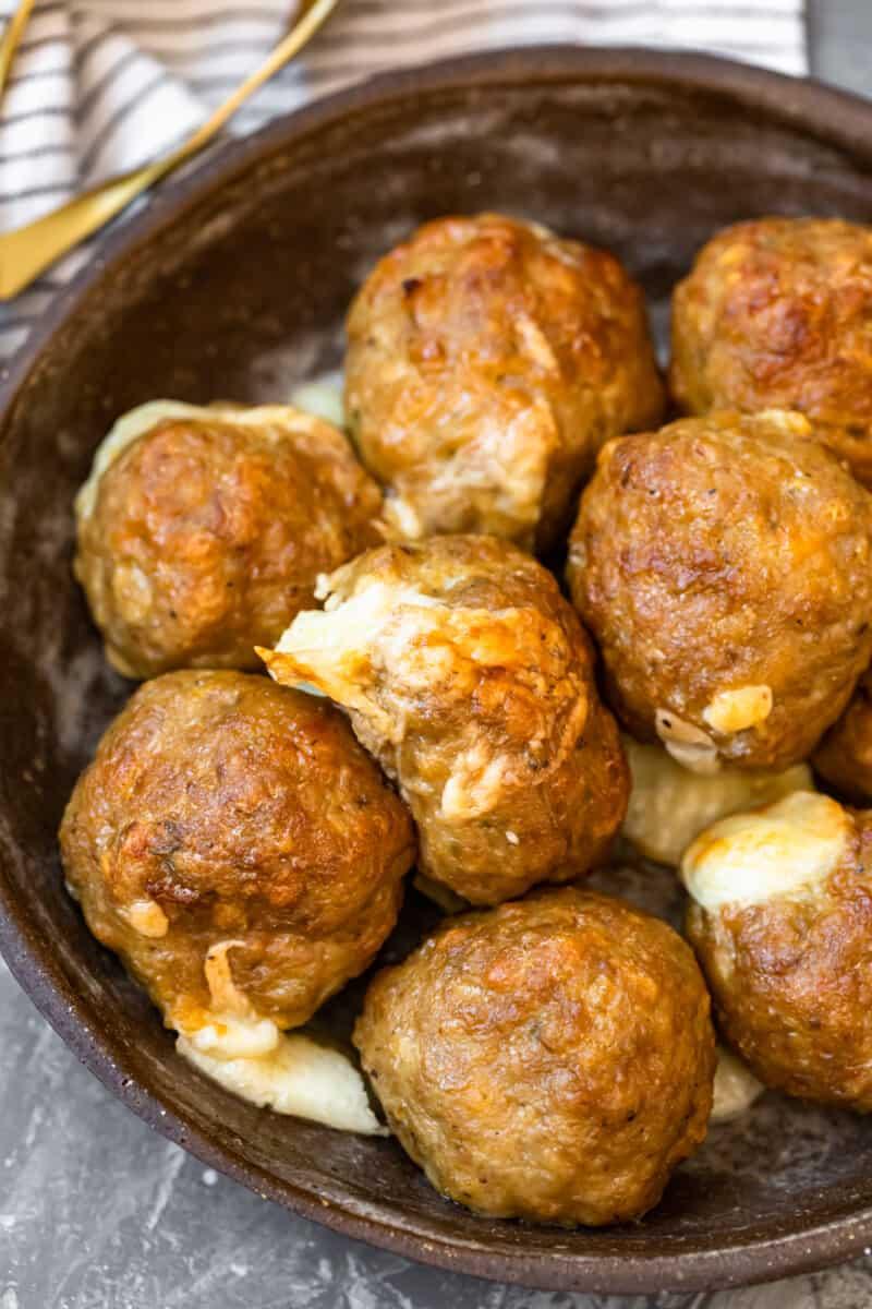 bowl of cheesy baked turkey meatballs