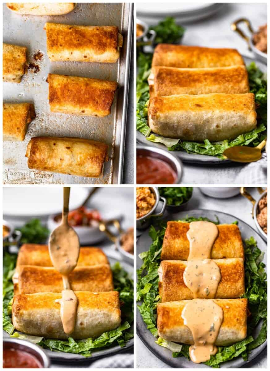 step by step photos for how to make baked chicken chimichangas