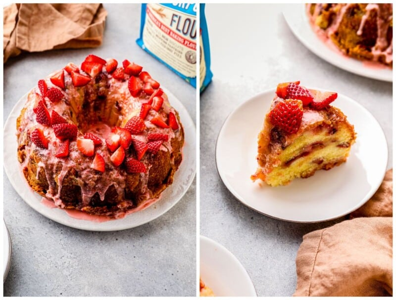 strawberry pound cake collage