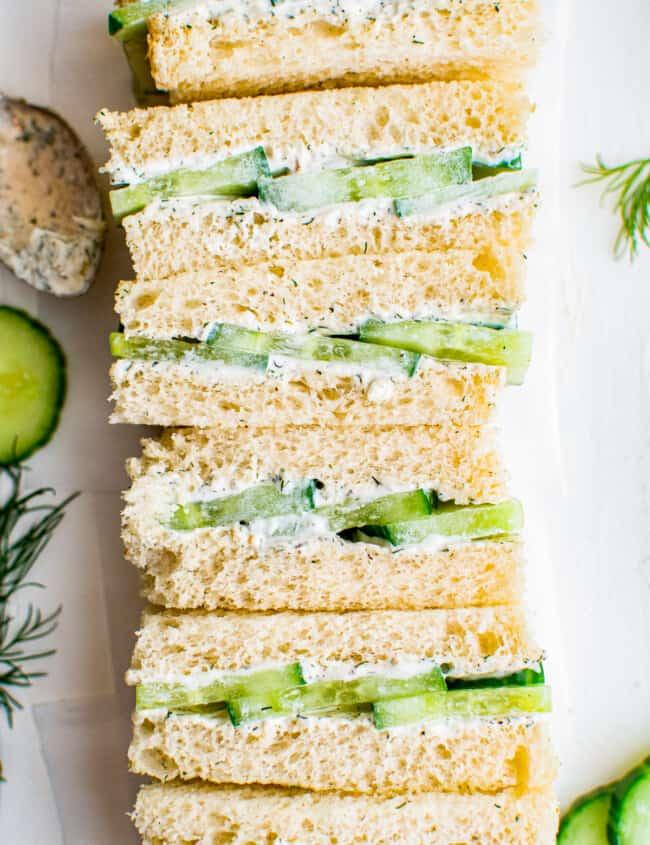 cucumber sandwiches on white bread