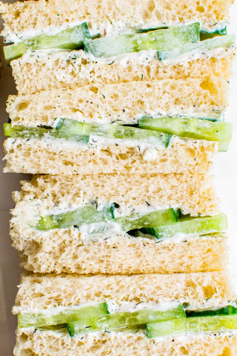 up close cucumber sandwiches on white bread
