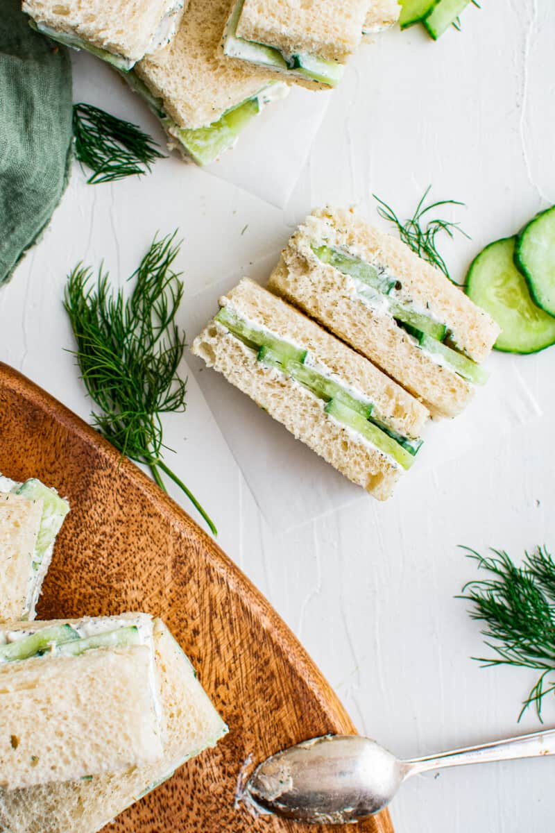 table with cucumber sandwiches