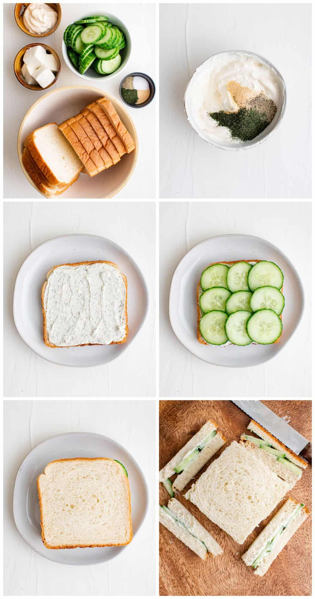 step by step photos for how to make cucumber sandwiches