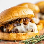 featured caramelized onion swiss burgers