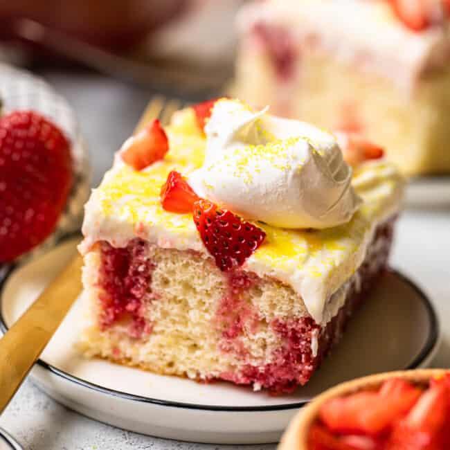 featured strawberry lemonade poke cake