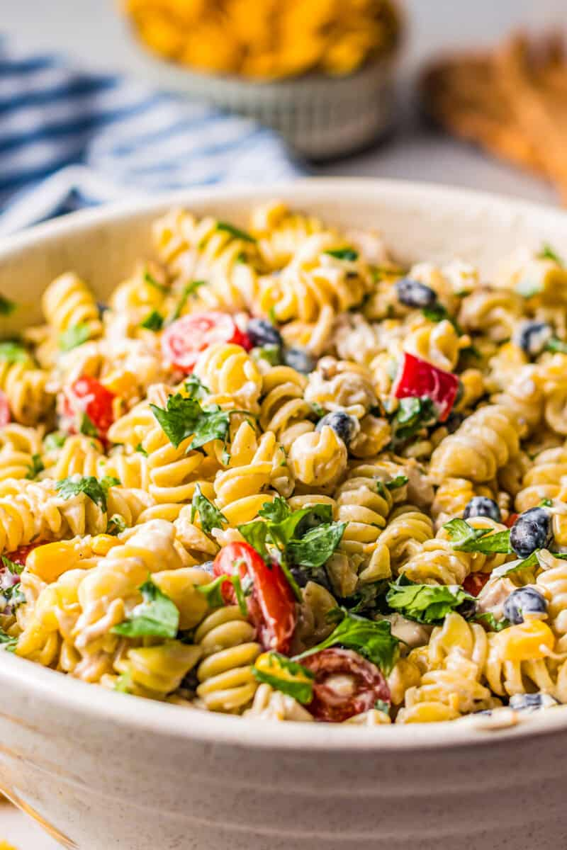 ranch chicken pasta salad in large bowl