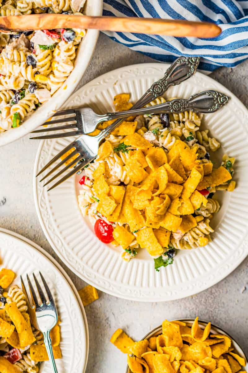 overhead ranch chicken pasta salad with fritos