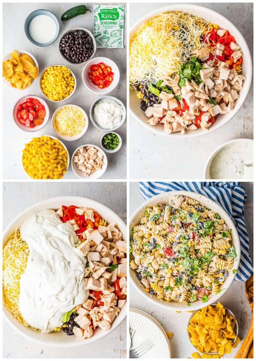 step by step photos for how to make chicken ranch pasta salad
