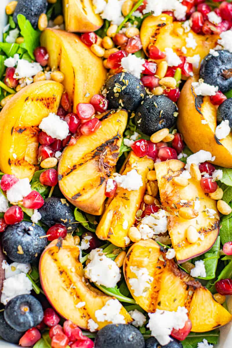 up close image of grilled peach salad