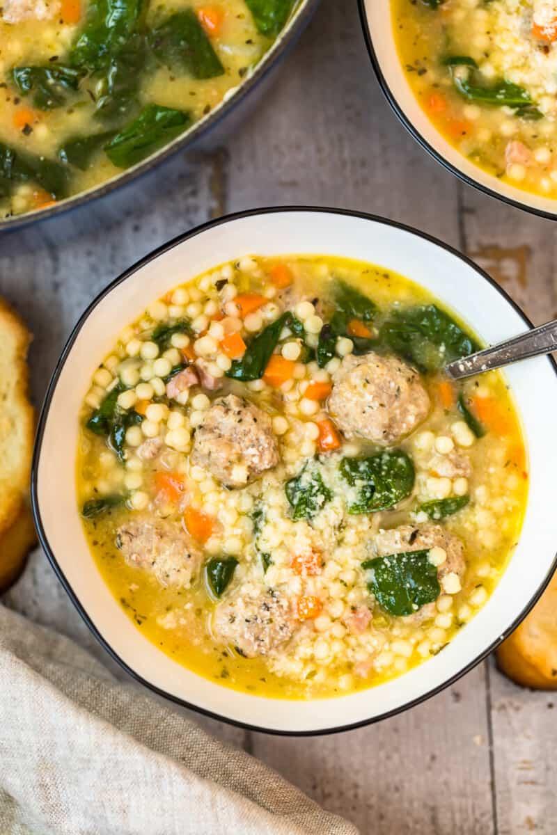 overhead white bowl of Italian wedding soup