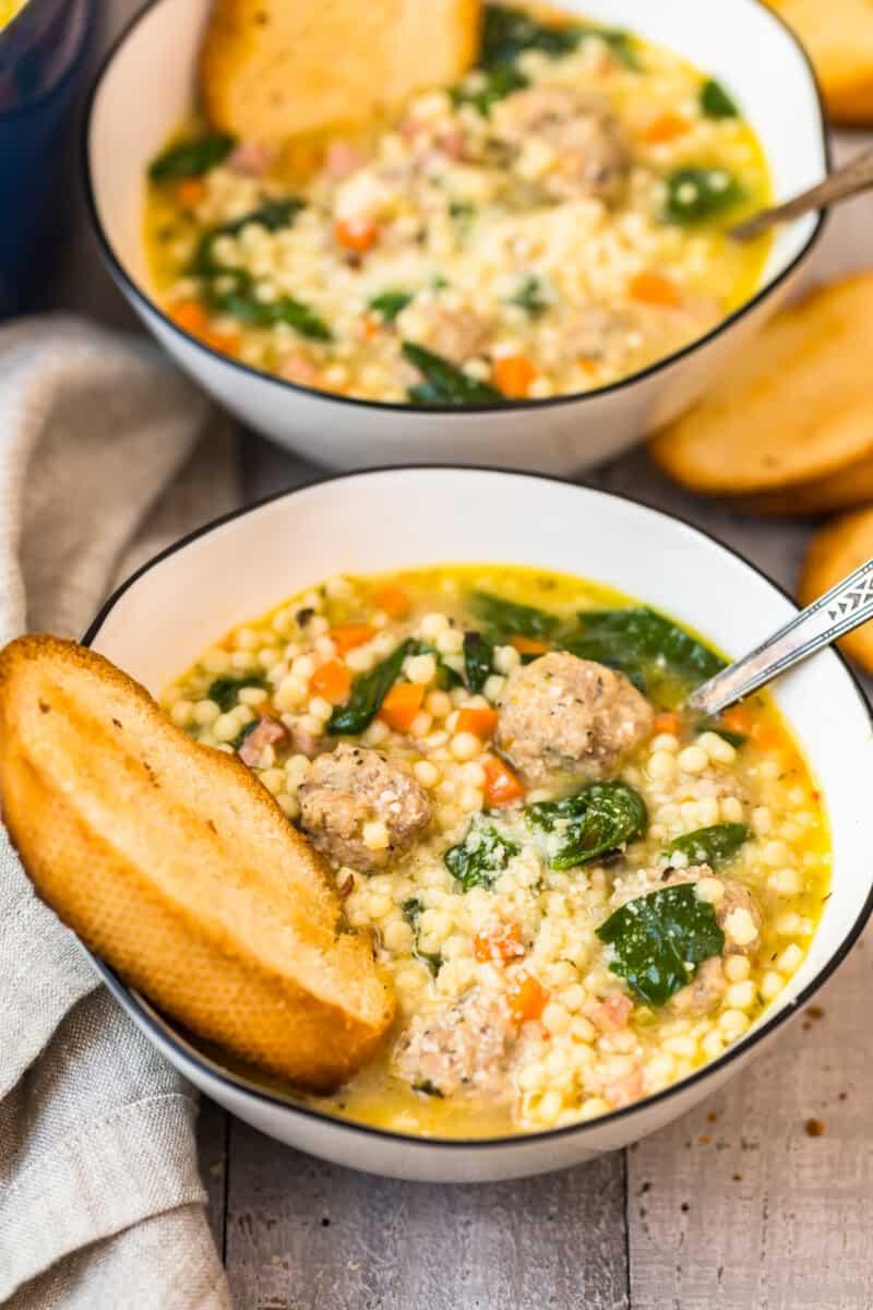 white bowl of Italian wedding soup