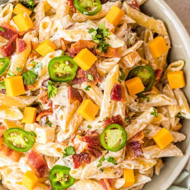 bowl of jalapeno popper pasta salad