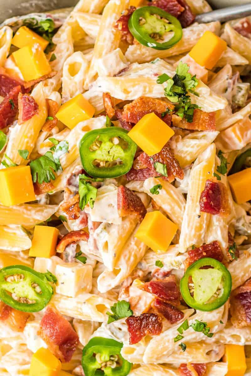 up close bowl of jalapeno popper pasta salad