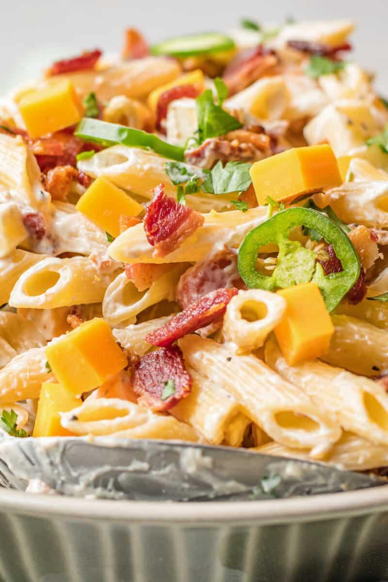 side image of bowl of jalapeno popper pasta salad