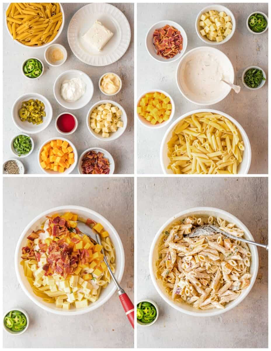 step by step photos of how to make jalapeno popper pasta salad