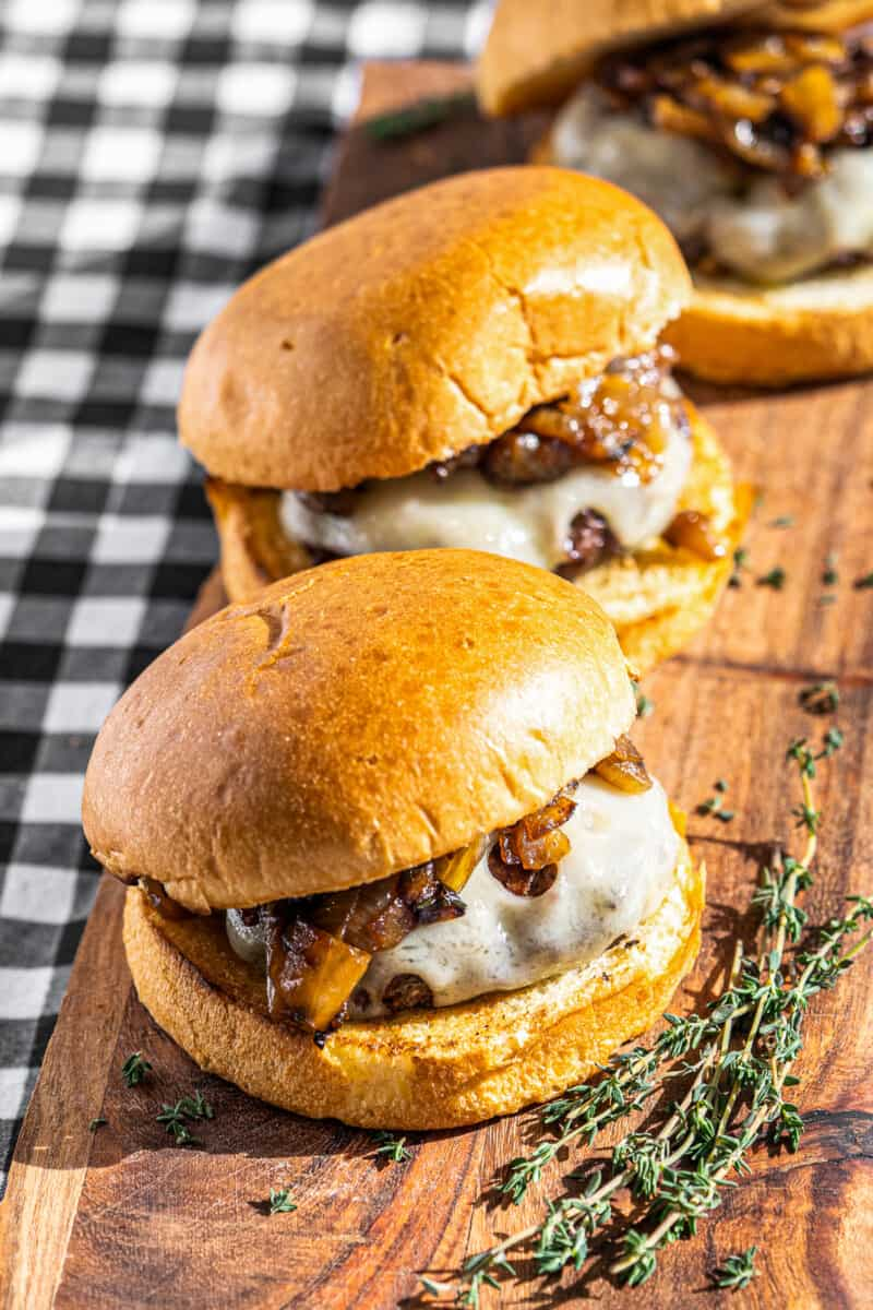 grilled onion siws burgers on serving platter