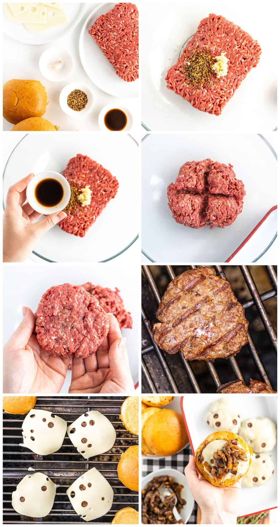 step by step photos for how to make grilled onion swiss burgers