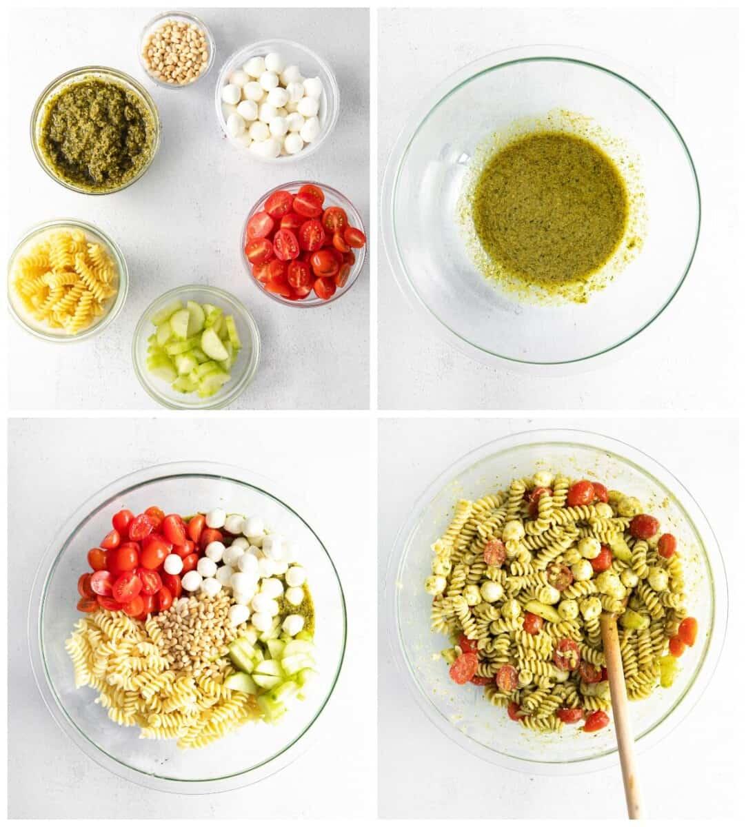 step by step photos for how to make pesto pasta salad