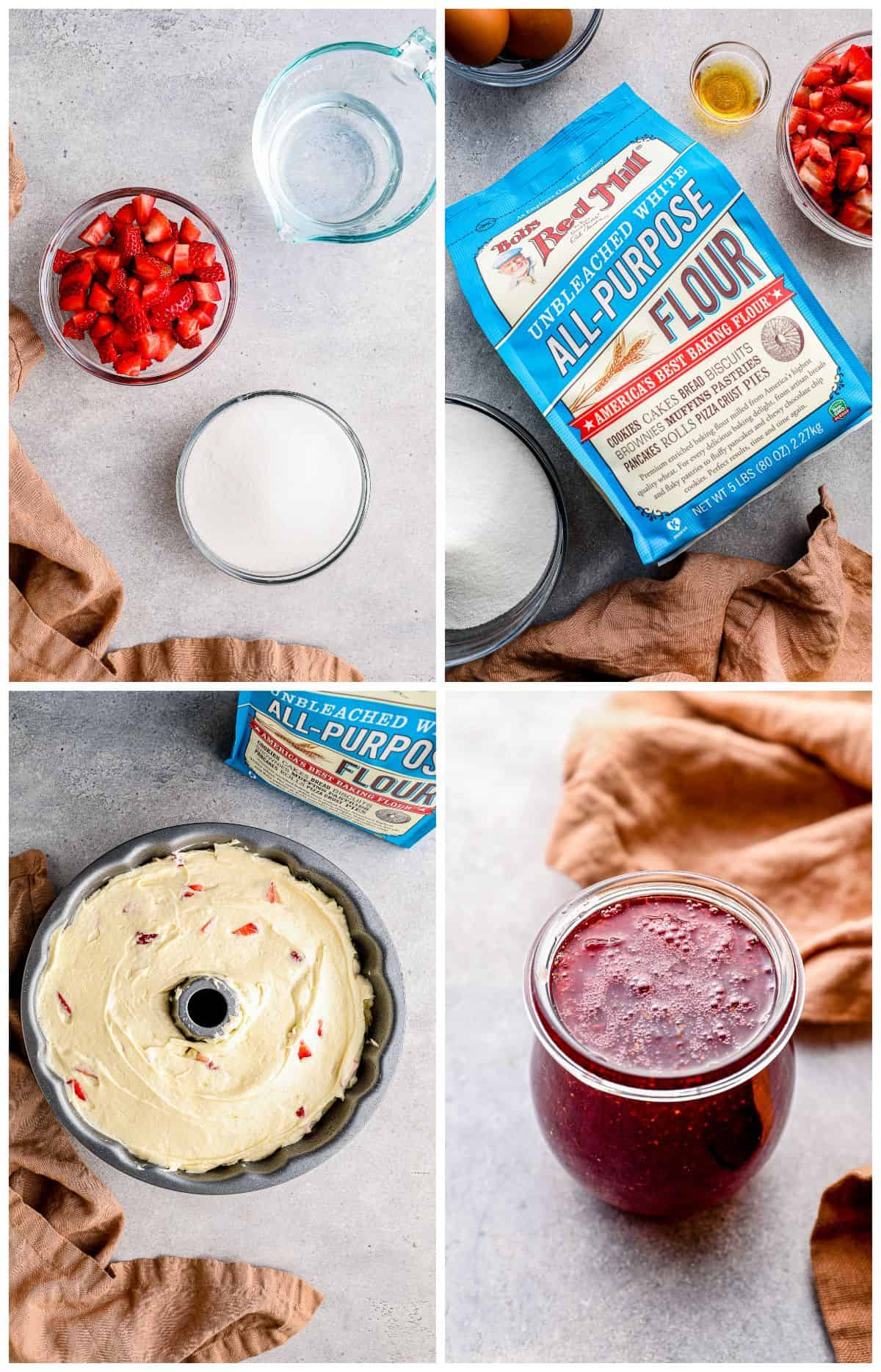 step by step photos for how to make strawberry pound cake