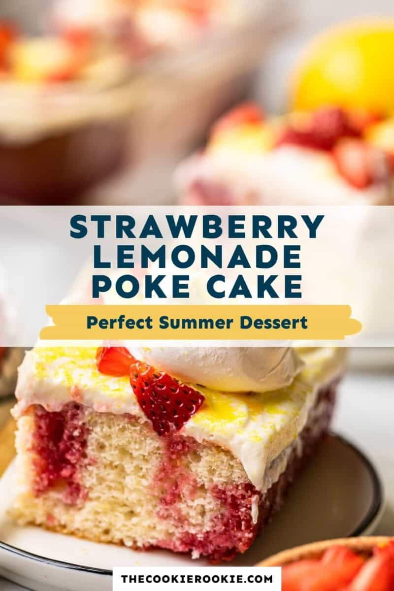 strawberry lemonade poke cake pinterest collage