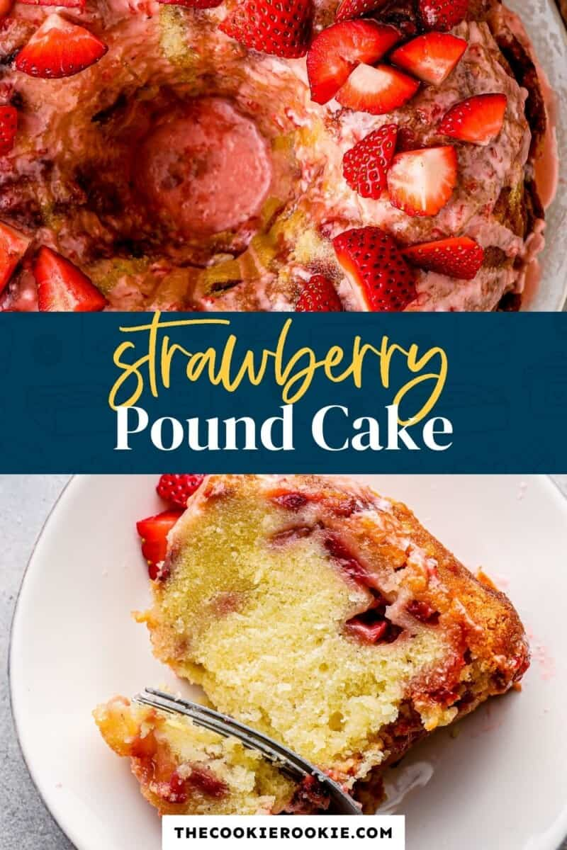 strawberry pound cake pinterest collage