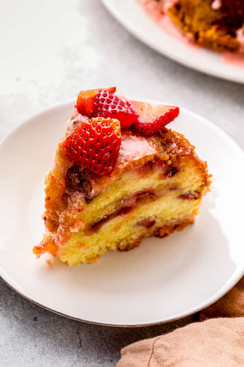 slice of glazed strawberry pound cake
