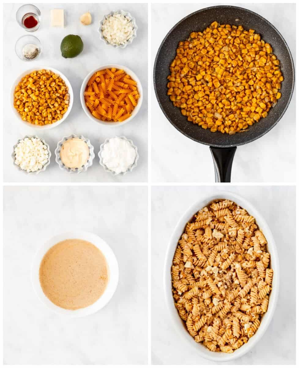 step by step photos for how to make street corn pasta salad