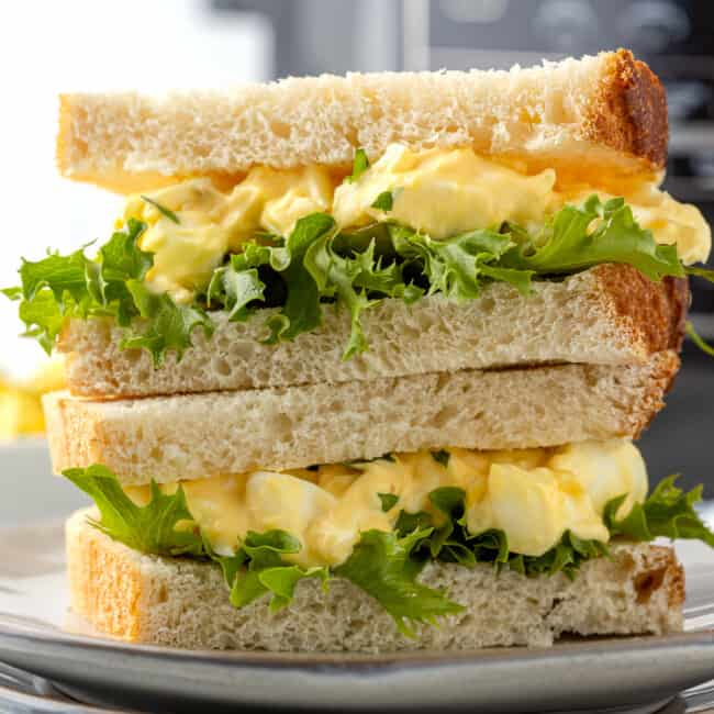 air fryer egg salad sandwiches stacked