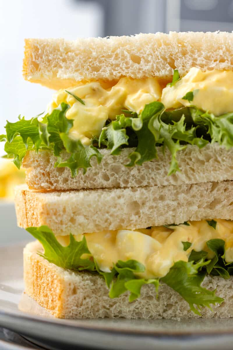 up close air fryer egg salad sandwiches stacked