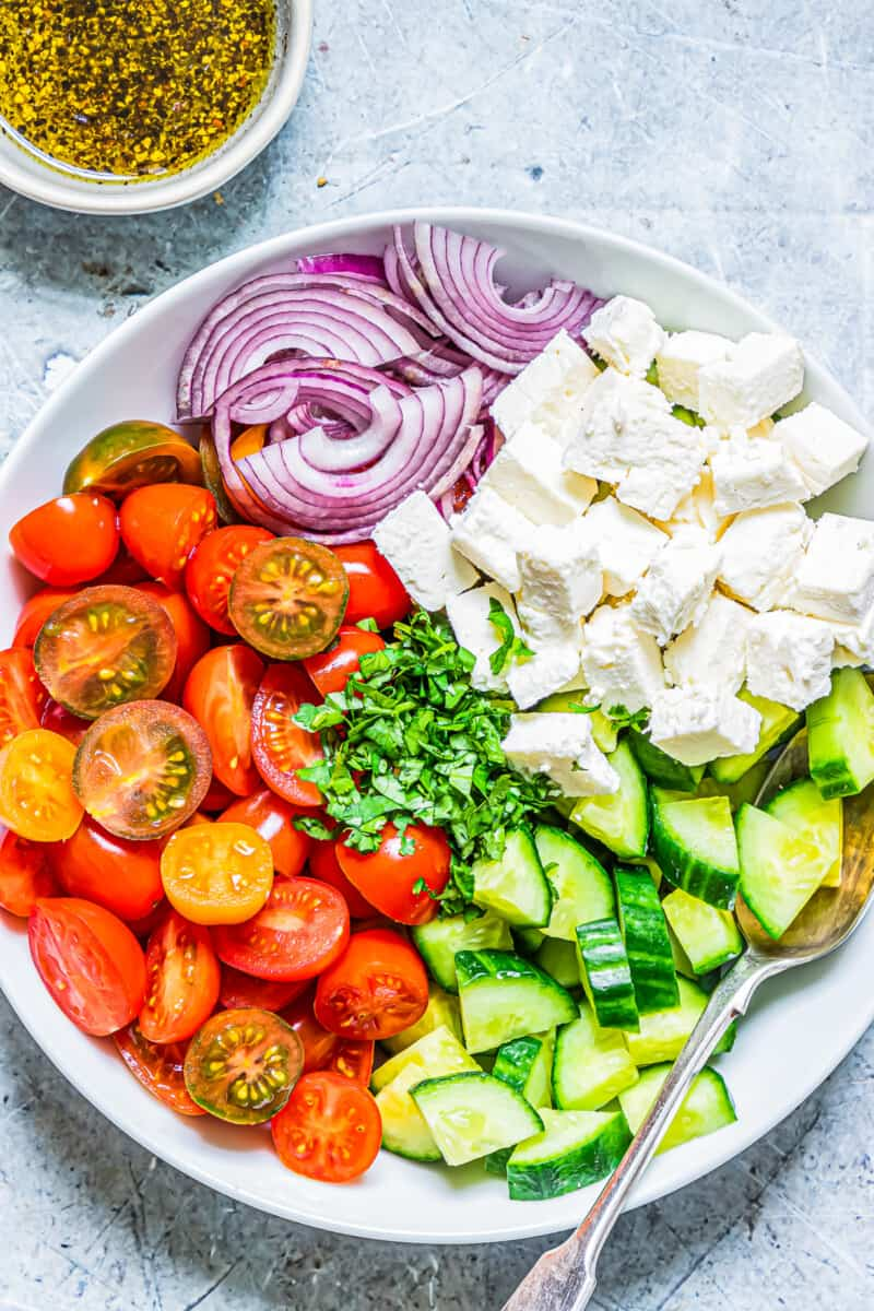 ingredients for cucumber tomato salad with feta