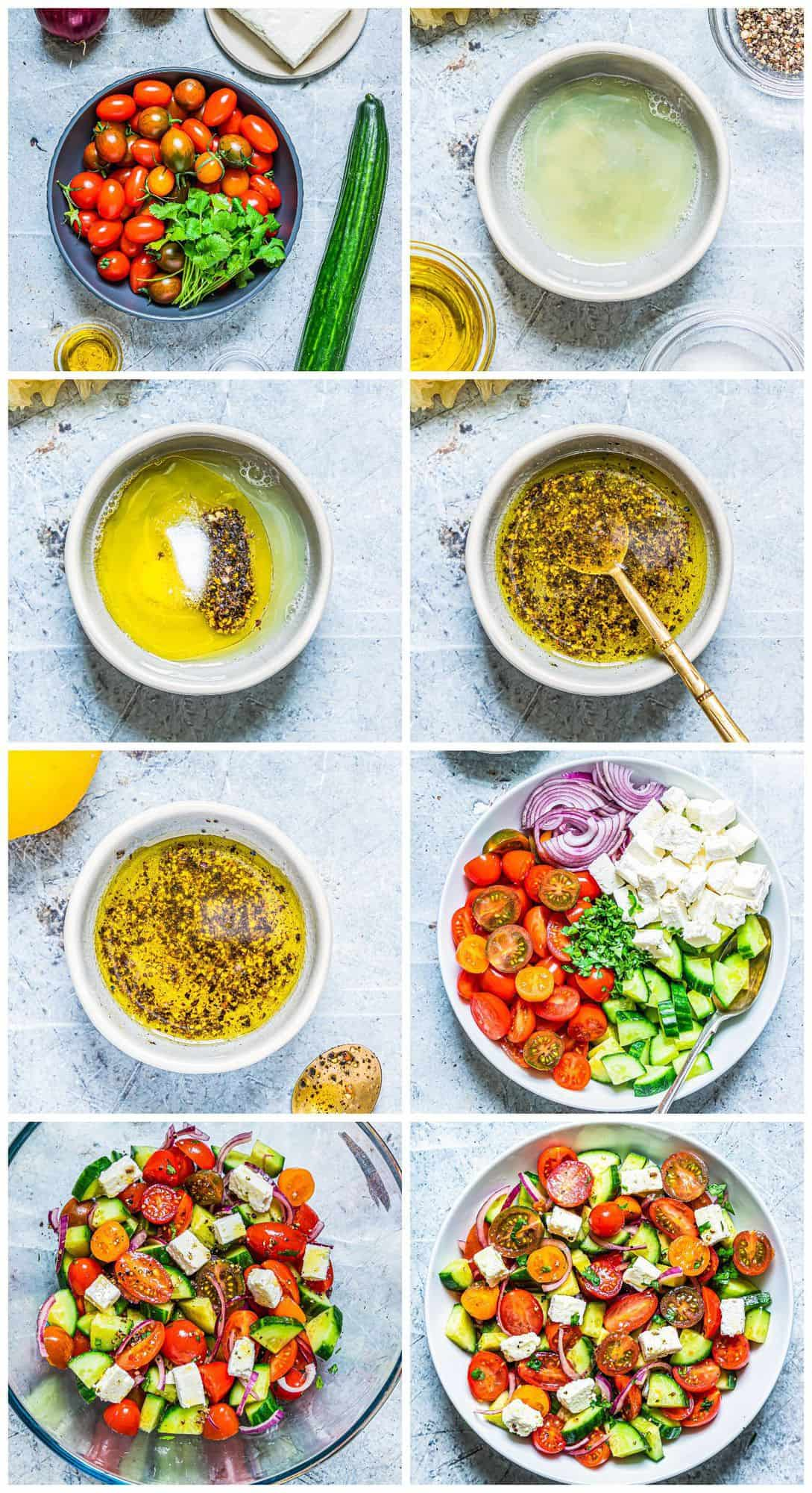 step by step photos for how to make cucumber tomato salad