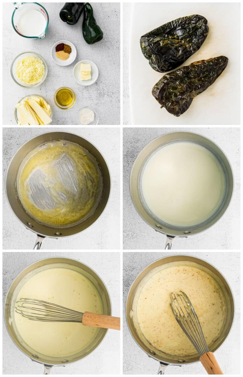 step by step photos for how to make poblano queso