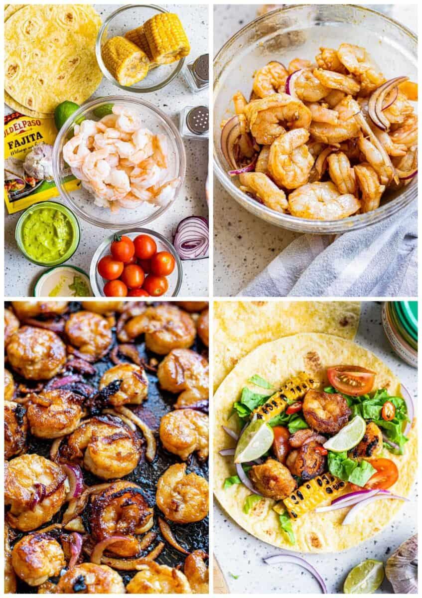step by step photos for how to make shrimp fajitas